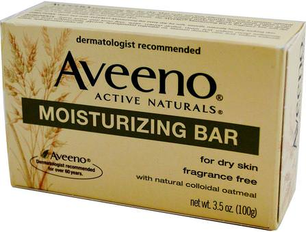 Active Naturals, Moisturizing Bar, Fragrance Free, 3.5 oz (100 g) by Aveeno, 面部護理,身體 HK 香港
