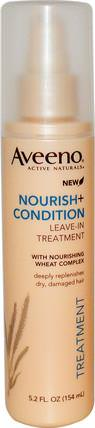 Active Naturals, Nourish+Condition, Leave-In Treatment, 5.2 fl oz (154 ml) by Aveeno, 洗澡,美容,頭髮,頭皮,洗髮水,護髮素,護髮素 HK 香港