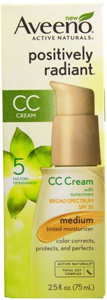 Active Naturals, Positively Radiant CC Cream, SPF 30, Medium, 2.5 fl oz (75 ml) by Aveeno, 美容,面部護理,spf面部護理 HK 香港