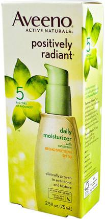 Active Naturals, Positively Radiant, Daily Moisturizer, SPF 30, 2.5 fl oz (75 ml) by Aveeno, 洗澡,美容,防曬霜,spf 30-45,面部護理,spf面部護理 HK 香港