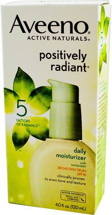 Active Naturals, Positively Radiant, Daily Moisturizer, with Sunscreen, SPF 15, 4.0 fl oz (120 ml) by Aveeno, 洗澡,美容,防曬霜,spf 05-25,面部護理 HK 香港