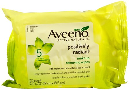 Active Naturals, Positively Radiant Makeup Removing Wipes, 25 Wipes by Aveeno, 美容,面部護理,面部濕巾 HK 香港