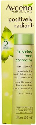 Active Naturals, Positively Radiant, Targeted Tone Corrector, 1.1 fl oz (32 ml) by Aveeno, 美容,面部護理,面霜,乳液 HK 香港