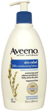 Active Naturals, Skin Relief 24hr Moisturizing Lotion, Fragrance Free, 12 fl oz (354 ml) by Aveeno, 身體,皮膚緩解 HK 香港