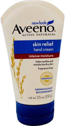 Active Naturals, Skin Relief, Hand Cream, Fragrance Free, 3.5 oz (100 g) by Aveeno, 身體,皮膚緩解 HK 香港