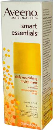 Active Naturals, Smart Essentials, Daily Nourishing Moisturizer, SPF 30, 2.5 fl oz (75 ml) by Aveeno, 洗澡,美容,防曬霜,spf 30-45,面部護理,spf面部護理 HK 香港