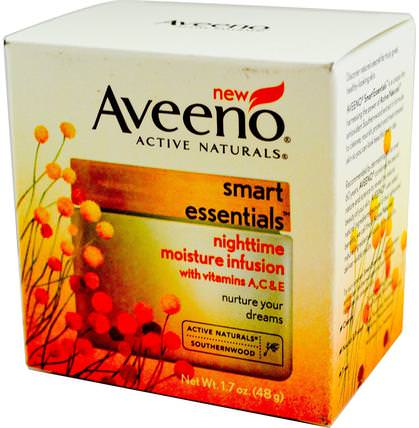 Active Naturals, Smart Essentials, Nighttime Moisture Infusion, 1.7 oz (48 g) by Aveeno, 健康,皮膚,面部護理,晚霜 HK 香港