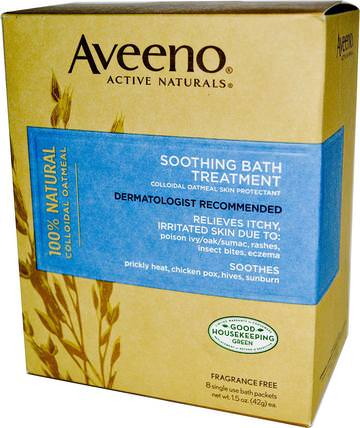 Active Naturals, Soothing Bath Treatment, Fragrance Free, 8 Single Use Bath Packets .1.5 oz (42 g) Each. by Aveeno, 身體,濕疹治療 HK 香港