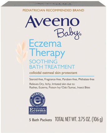 Baby, Eczema Therapy, Soothing Bath Treatment, Fragrance Free, 5 Bath Packets, 3.75 oz (106 g) by Aveeno, 兒童健康,孩子洗澡 HK 香港