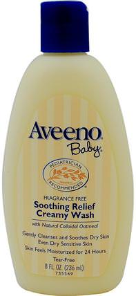 Baby, Soothing Relief Creamy Wash, Fragrance Free, 8 fl oz (236 ml) by Aveeno, 洗澡,美容,沐浴露,兒童沐浴露,兒童沐浴露 HK 香港
