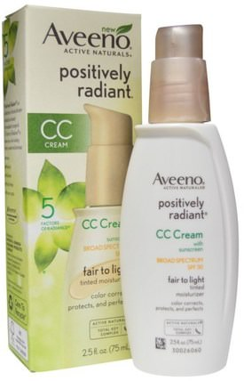 Positively Radiant, CC Cream, SPF 30, Fair to Light, 2.5 fl oz (75 ml) by Aveeno, 洗澡,美容,防曬霜,spf 30-45,面部護理,spf面部護理 HK 香港