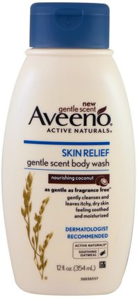 Skin Relief, Gentle Scent Body Wash, Nourishing Coconut, 12 fl oz (354 ml) by Aveeno, 洗澡,美容,沐浴露 HK 香港