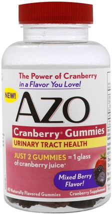 Cranberry Gummies, Mixed Berry Flavor, 40 Gummies by Azo, 草藥,蔓越莓,健康,泌尿健康 HK 香港