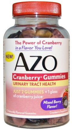 Cranberry Gummies, Mixed Berry Flavor, 72 Gummies by Azo, 草藥,蔓越莓,健康,泌尿健康 HK 香港