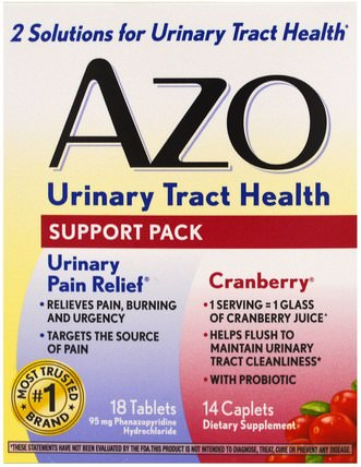Urinary Tract Health, Support Pack, 18 Tablets, 14 Caplets by Azo, 健康,膀胱,草藥,蔓越莓 HK 香港