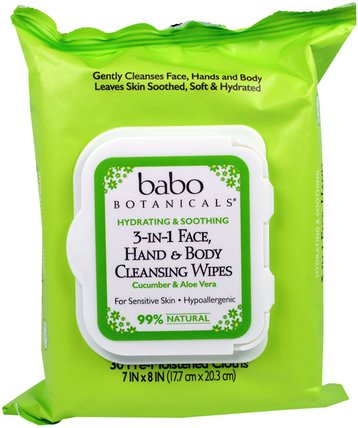 Babo Botanicals, 3-In-1 Hydrating & Soothing Face, Hand & Body Cleansing Wipes, Cucumber & Aloe Vera, 30 Pre-Moistened Cloths 美容,面部護理,面部濕巾,沐浴