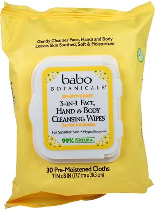 3-in-1 Sensitive Baby Face, Hand & Body Cleansing Wipes, Oatmilk & Calendula, 30 Pre-Moistened Cloth by Babo Botanicals, 美容,面部護理,面部濕巾,沐浴 HK 香港