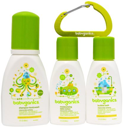 Bathtime Essentials, Chamomile Verbena, 3 Piece Set by BabyGanics, 洗澡,美容,禮品套裝,旅行樣品包,兒童泡泡浴 HK 香港