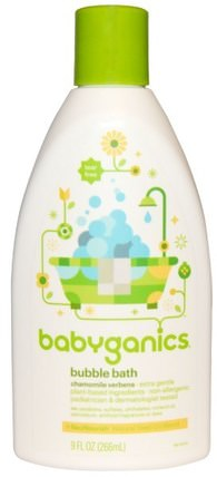 Bubble Bath, Chamomile Verbena, 9 fl oz (266 ml) by BabyGanics, 洗澡,美容,泡泡浴 HK 香港