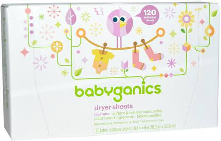 Dryer Sheets, Lavender, 120 Fabric Softener Sheets by BabyGanics, 家,洗衣,織物柔軟劑 HK 香港