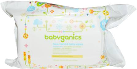 Face, Hand & Baby Wipes, Fragrance Free, 100 Wipes by BabyGanics, 兒童健康,尿布,嬰兒濕巾 HK 香港