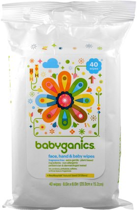 Face, Hand & Baby Wipes, Fragrance Free, 40 Wipes, (8.0 in x 6.0 in) Each by BabyGanics, 兒童健康,尿布,嬰兒濕巾 HK 香港