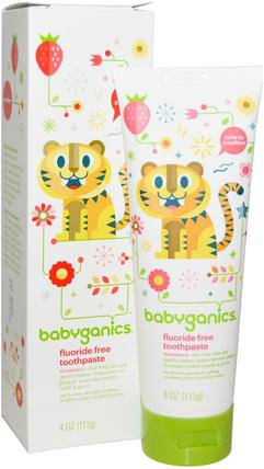 Fluoride Free Toothpaste, Strawberry, 4 oz (113 g) by BabyGanics, 洗澡,美容,牙膏,兒童和嬰兒牙膏 HK 香港