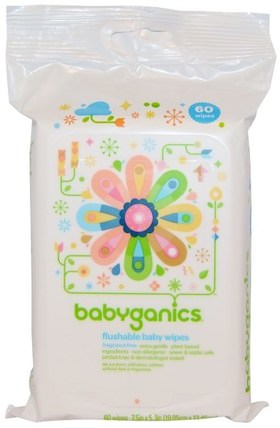 Flushable Baby Wipes, Fragrance Free, 60 Wipes by BabyGanics, 兒童健康,尿布,嬰兒濕巾 HK 香港