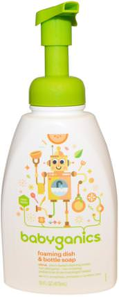 Foaming Dish & Bottle Soap, Citrus, 16 fl oz (473 ml) by BabyGanics, 家庭,洗碗,洗碗皂,兒童健康,兒童食品 HK 香港
