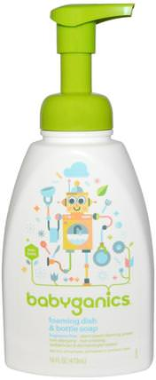 Foaming Dish & Bottle Soap, Fragrance Free, 16 fl oz (473 ml) by BabyGanics, 家庭,洗碗,洗碗皂 HK 香港