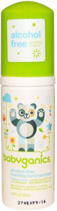 Foaming Hand Sanitizer, Alcohol-Free, Fragrance Free, 1.69 fl oz (50 ml) by BabyGanics, 洗澡,美容,洗手液 HK 香港