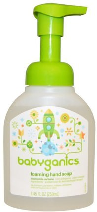 Foaming Hand Soap, Chamomile Verbena, 8.45 fl oz (250 ml) by BabyGanics, 兒童健康,兒童洗澡,兒童肥皂,沐浴,美容,肥皂 HK 香港