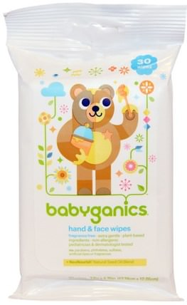Hand & Face Wipes, Fragrance Free, 30 Wipes by BabyGanics, 兒童健康,尿布,嬰兒濕巾,兒童洗澡 HK 香港