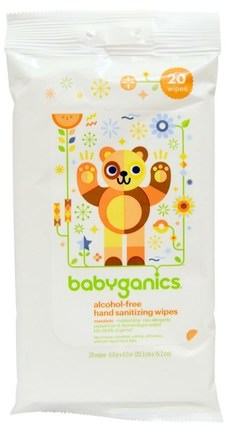 Hand Sanitizing Wipes, Alcohol Free, Mandarin, 20 Wipes by BabyGanics, 洗澡,美容,洗手液 HK 香港