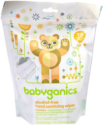 Hand Sanitizing Wipes, Alcohol Free, Mandarin, 75 On-the-Go Wipes by BabyGanics, 洗澡,美容,洗手液 HK 香港