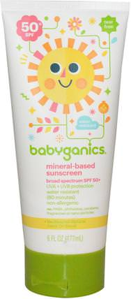 Mineral-Based Sunscreen, 50+ SPF, 6 fl oz (177 ml) by BabyGanics, 洗澡,美容,防曬霜,spf 50-75,兒童和嬰兒防曬霜 HK 香港
