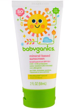 Mineral Based Sunscreen Lotion, SPF 50+, 2 oz (59 ml) by BabyGanics, 健康,皮膚護理,沐浴,美容,防曬霜,spf 50-75 HK 香港