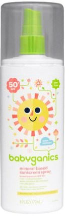 Mineral-Based Sunscreen Spray, 50 + SPF, 6 fl oz (177 ml) by BabyGanics, 洗澡,美容,防曬霜,兒童和嬰兒防曬霜 HK 香港