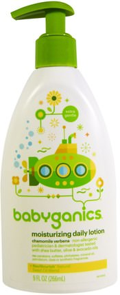 Moisturizing Daily Lotion, Chamomile Verbena, 9 fl oz (266 ml) by BabyGanics, 洗澡,美容,潤膚露,嬰兒潤膚露 HK 香港