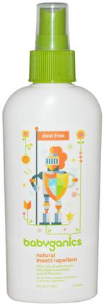 Natural Insect Repellent, Deet Free, 6 oz (177 ml) by BabyGanics, 兒童健康,兒童和嬰兒驅蚊劑,蟲子和驅蟲劑 HK 香港