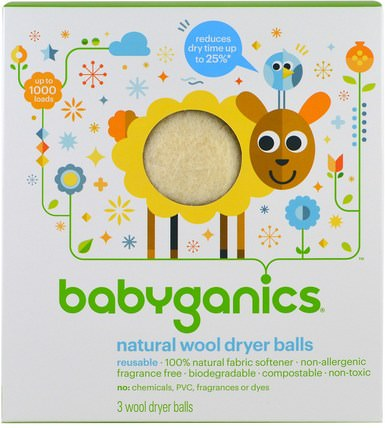 Natural Wool Dryer Balls, 3 Wool Dryer Balls by BabyGanics, 回家,洗衣服 HK 香港