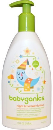 Night Time Baby Lotion, Orange Blossom, 12 fl oz (354 ml) by BabyGanics, 兒童健康,尿布,兒童洗澡 HK 香港