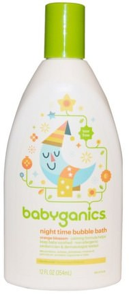Night Time Bubble Bath, Orange Blossom, 12 fl oz (354 ml) by BabyGanics, 洗澡,美容,泡泡浴,孩子泡泡浴 HK 香港