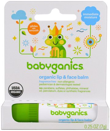 Organic Lip & Face Balm, 0.25 oz (7 g) by BabyGanics, 洗澡,美容,唇部護理,唇膏 HK 香港