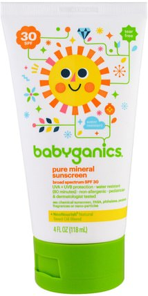 Pure Mineral Sunscreen Lotion, SPF 30, 4 oz (118 ml) by BabyGanics, 健康,皮膚護理,沐浴,美容,防曬霜,spf 30-45 HK 香港