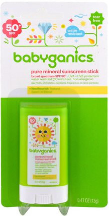 Pure Mineral Sunscreen Stick, SPF 50+, 0.47 oz (13 g) by BabyGanics, 洗澡,美容,防曬霜,兒童和嬰兒防曬霜 HK 香港