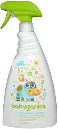 Stain & Odor Remover, Fragrance Free, 32 fl oz (946 ml) by BabyGanics, 兒童健康,兒童和嬰兒清潔,洗衣預處理 HK 香港
