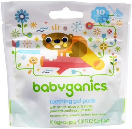 Teething Gel Pods, 10 Single-Use Pods, 0.01 fl oz (0.3 ml) Each by BabyGanics, 孩子的健康,寶寶出牙 HK 香港