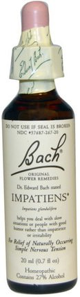 Original Flower Remedies, Impatiens, 0.7 fl oz (20 ml) by Bach, 健康 HK 香港
