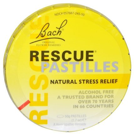 Original Flower Remedies, Rescue Pastilles, Natural Stress Relief, 1.7 oz (50 g) by Bach, 補品,順勢療法,巴赫原創花精華救援 HK 香港